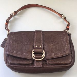 Coach Chelsea shoulder bag — brown with tan strap